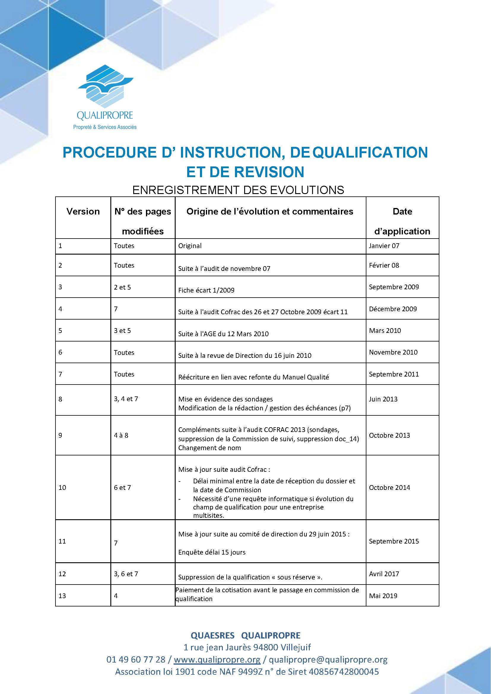 Procédure d'instruction, de qualification et de révision