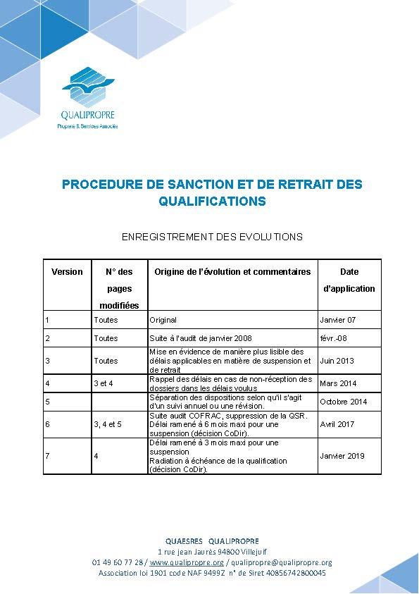Procédure de sanction et de retrait des qualifications